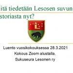 LUENTO 28.3.2021: Mitä tiedetään Lesosen suvusta nyt?